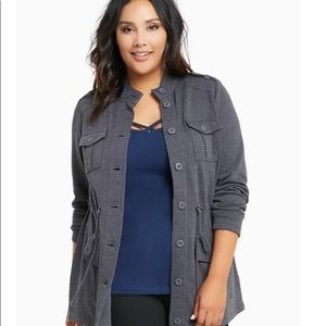 Torrid Plus French Terry Knit Military Jacket